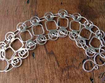 Wide sterling silver bracelet. Unique bold statement jewelry. Handcrafted circles and squares chain links. Modern womens gift  Stand Alone.
