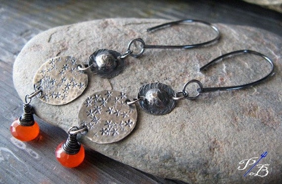 Clearance Sale. Rustic oxidized sterling silver dangle earrings. Grapefruit orange chalcedony. Brushed organic. Stars gift for her.