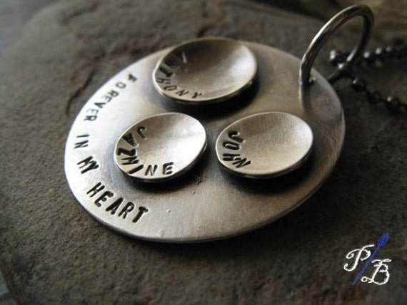 Personalized sterling silver disc pendant necklace.  Unique domed pod design.  Family jewelry.  You choose custom handstamped text.