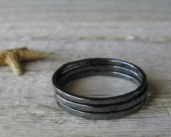 Trio of sterling silver texture minimalist hammered oxidized stacking rings.  Simple modern everyday jewelry.  Made to order in your size.
