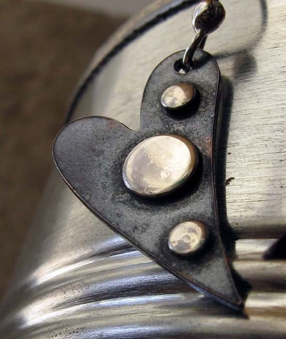 Hearts artisan oxidized copper and sterling silver earrings.  Mixed metal rustic jewelry.  Studded black heart.  Artisan accessories.