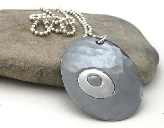 Large copper and sterling silver pendant necklace. Rustic artisan handmade jewelry.  Organic hammered oval. Oxidized.  Breathing Thunder...