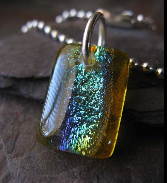 Clearance Sale. Dichroic fused glass yellow petite necklace. Flashes green blue & purple. Transparent sunshine. Sterling silver chain