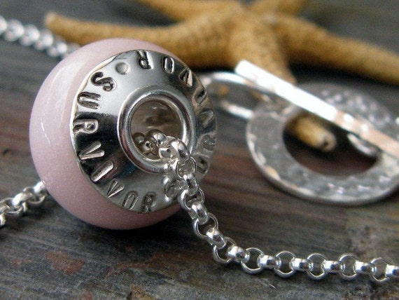 Breast cancer survivor glass bead sterling silver necklace.  Artisan made in the USA.  Tribute for breast cancer awareness. Pink.