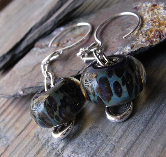 Purple and blue boro glass bead earrings.  Sterling silver lampwork jewlery.  Ready to ship. Peacock.