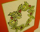 WATERCOLOR WREATH Ecofriendly Christmas Card
