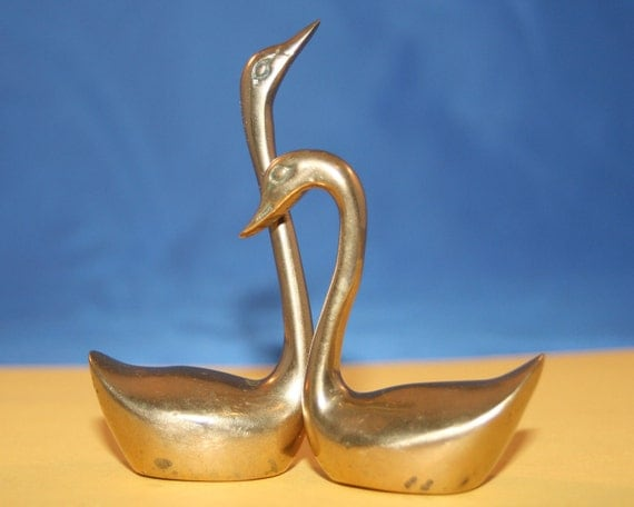 Pair of Brass Swan