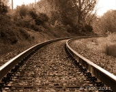 Railway Photo - Hop The Rail Photo - Railroad Tracks Photo- Sepia Photography