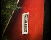 Red Barn Photo - Barn Photography - Country Window - Iowa farm - Hayloft - Landscape