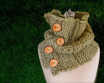 Soft Sage Green Four Button Cowl