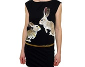 SALE Golden Hares Handpainted on a Black T Dress - OOAK - size Medium
