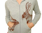 Hares on a heather hoody - size Small