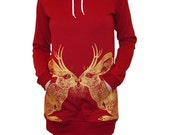 Kissing Jackalope hoodie dress - eco-friendly gold ink screenprint on cranberry cotton fleece - womens size Medium (fits USA  size 0-8)