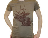 Sale - Jelk Jackalope tshirt - eco-friendly brown ink screenprint on army cotton crew neck - womens size Small