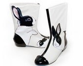 Reserved for leeds87 - Handpainted Dutch Rabbit Boots - Vintage two-tone patent and nappa leather - OOAK size 8