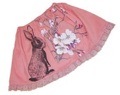 NEW - Bunny and Cherry Blossoms skirt - vintage peach pink cotton with lace -  toddler girls size 3 to 8 years