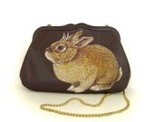Reserved for Martina - Little Jackalope Purse - Handpainted - deep brown leather with long gold chain - Vintage, OOAK