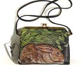 Christmas in July Sale - Hare's Nest handpainted cross body purse - OOAK - vintage navy blue shimmer leather clutch upcycled