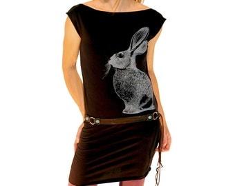 Rabbit Tshirt Dress - eco waterbased bunny screenprint on black 100% cotton American Apparel dress - womens sizes S, M, L