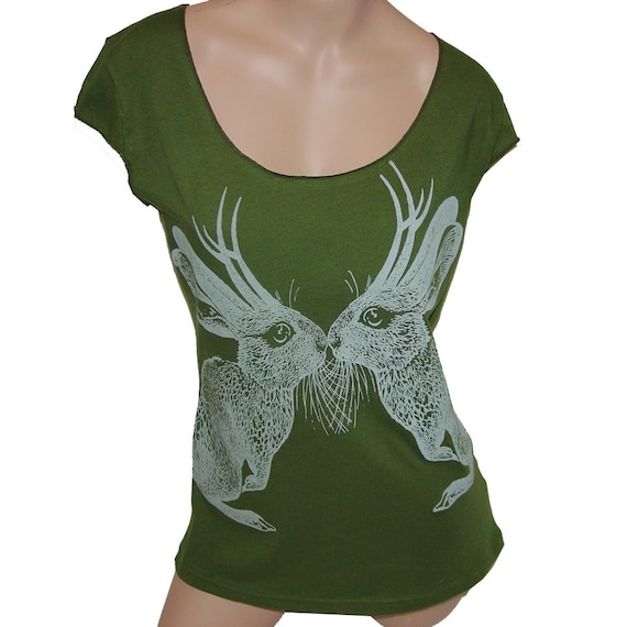 SALE Kissing Jackalope tshirt - eco-friendly silver grey ink screenprint on olive green cotton scoop neck  - size S