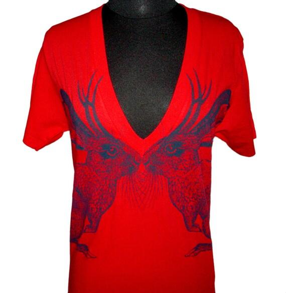 Kissing Jackalope deep v-neck tshirt - eco screenprint on red American Apparel cotton - unisex size Medium