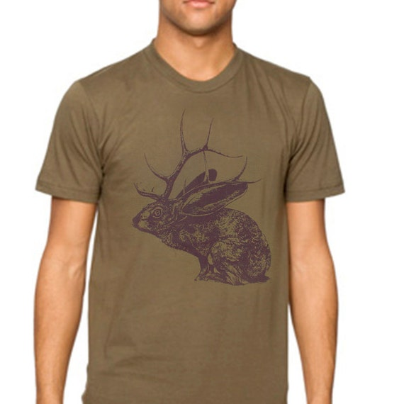 Sale - Jelk Jackalope tshirt - eco-friendly brown ink screenprint on army cotton crew neck - Mens size XL