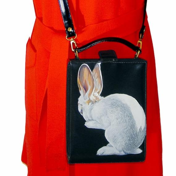"SALE ""Hermes the Rabbit"" handpainted purse - vintage dark blue vinyl satchel - one of a kind"