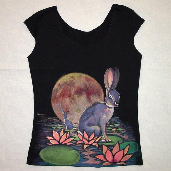 Black Friday Sale - Handpainted River Rabbit tshirt - eco friendly ink on black cotton scoop neck - womens size Large, OOAK