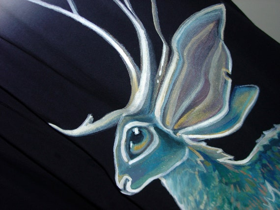 SALE - Blue Jackalope dress - handpainted, one of a kind by NYhop - size US 8 (Medium) cotton tie dye colorfade babydoll tent