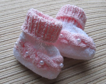 Instant Download Knitting Pattern #43 Booties with Cables and Pearls for a Girl 0-3, 3-6 months
