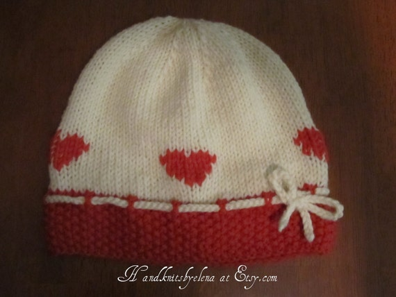 Number 19 Knitting Pattern Red Hearts  Merino Wool Hat for  a Girl 2- 3 years old