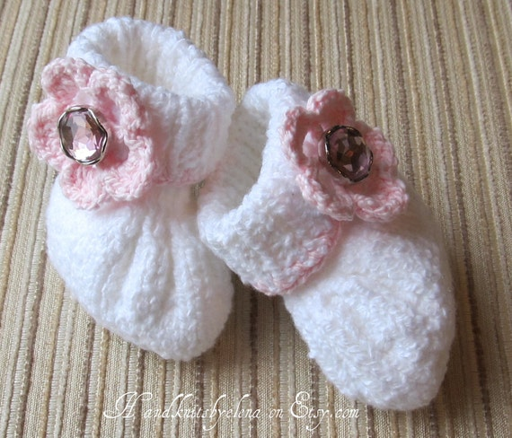 Number 30 KNITTING PATTERN Baby Girl Cotton Booties 0-3, 3-6 and 6-9 months