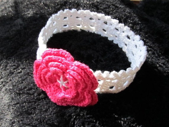 Number 8 Crochet Pattern Cotton Headband for a Baby Girl in sizes 0-3, 3-6, 6-12 months and older