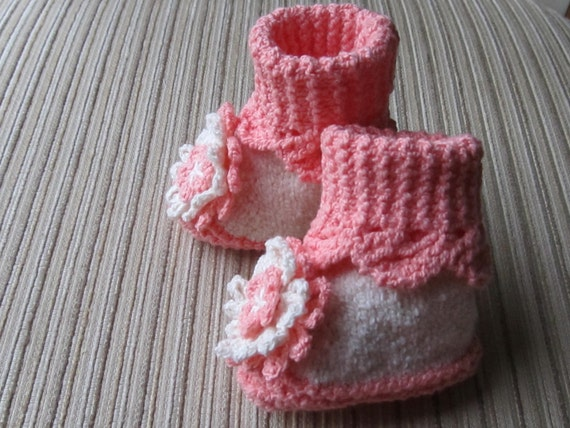 Knitting Pattern #44 Peach and Cream Booties with Beautiful Flowers