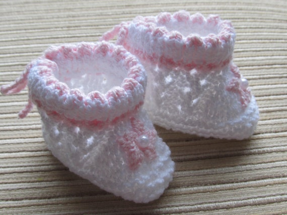 Number 46 Knitting Pattern Lacy  Booties with Daisies 0-3 months