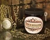 KEYHOLE STEAMPUNK  Sugar Scrub with Poppy Seeds 4oz,   cashmere, geranium, oakmoss, bourbon, patchouli and precious woods
