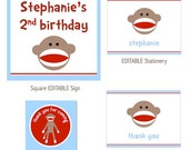 Sock Monkey Party-Printable PDF File with EDITABLE TEXT