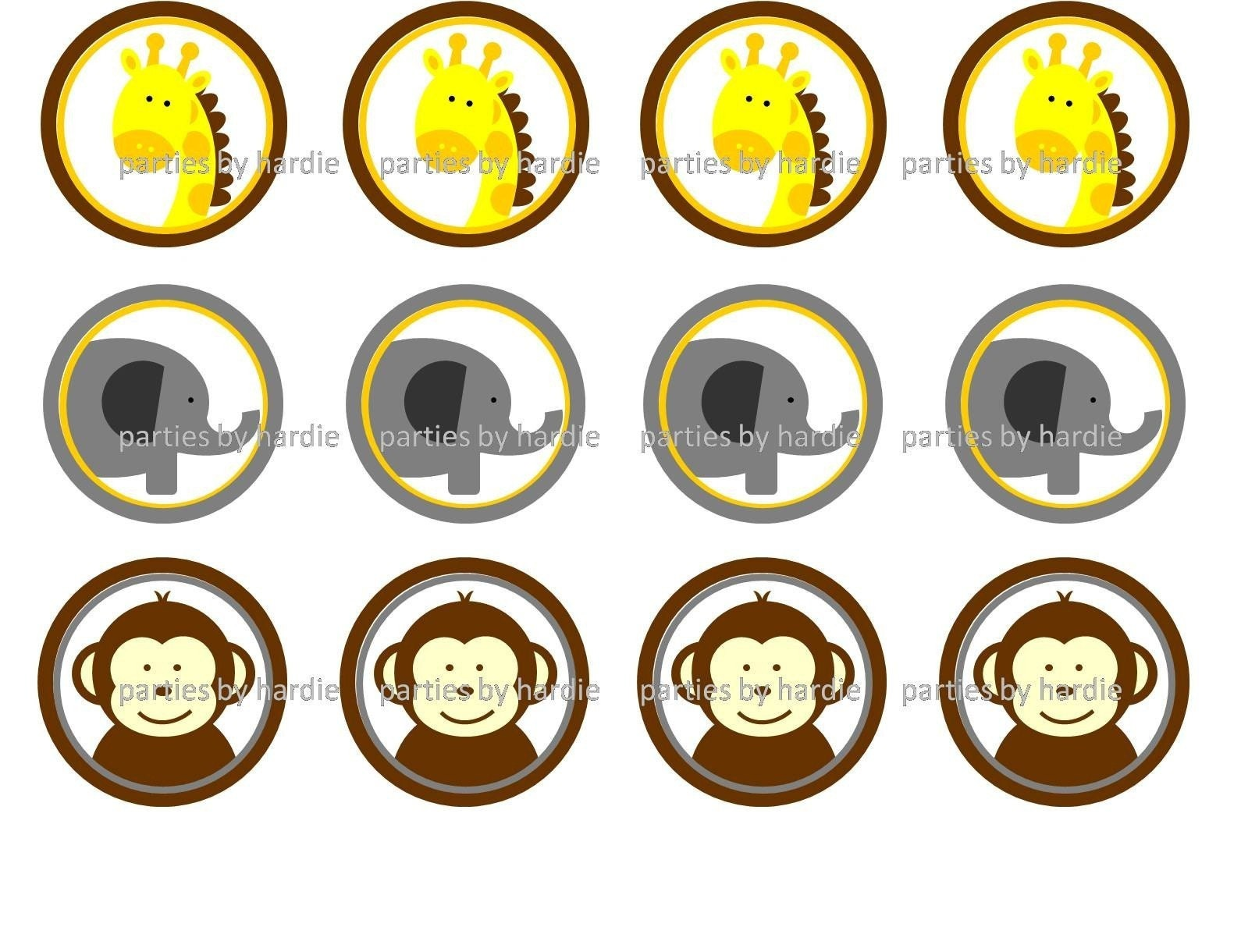 Printable PDF Safari/Zoo Party Round Tags by nickwilljack on Etsy