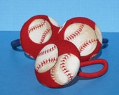Set of 2 Baseball ponytail holders red