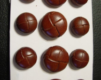 Ralph Lauren  Leather Button  Brown 24/32 12 Per  Set