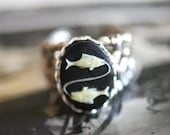PISCES Ring - Fish Cameo - Made in USA findings - featured in Etsy Newsletter - SOLDERED