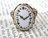 What Are You Waiting For Signet Ring - Tick Tock Series - Germany Clock Cameo - SOLDERED - American Brass
