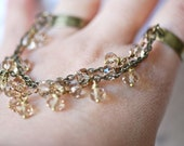 NEW - Victoria - double 2 finger chain rings - Glass Beads - Champagne/Brass