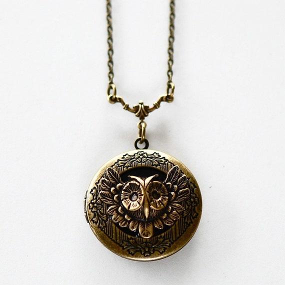 Mr. feathery flying owl locket necklace