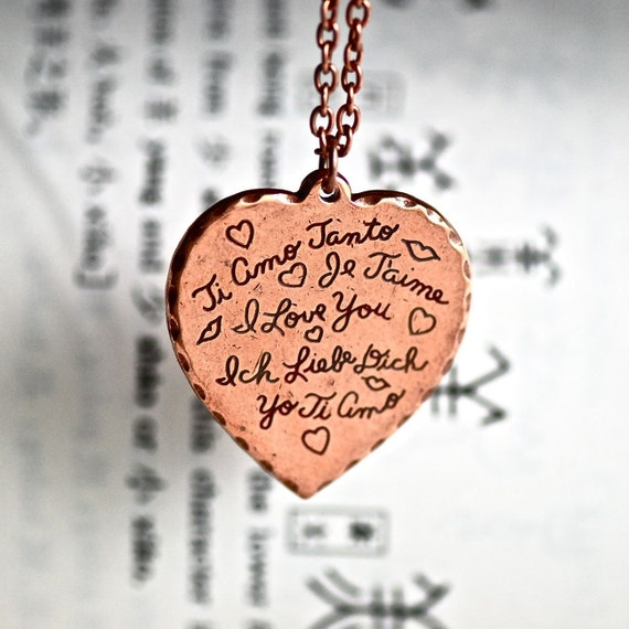 Languages of Love necklace - Old Rose Ox finish - Made in USA