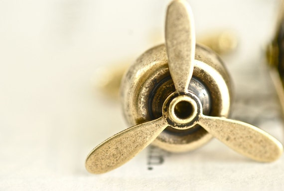 Little Propellers Cuff Links Cufflinks - Made in USA Components - 4 Different Finishes - Soldered Patina