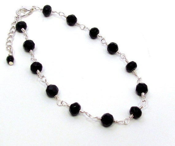 Faceted Black Glass Beaded Silver Anklet
