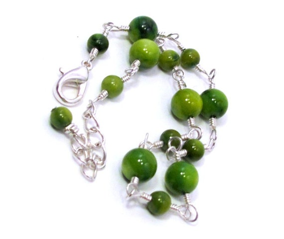 Lime Green Rivershell & Silver Anklet - SALE
