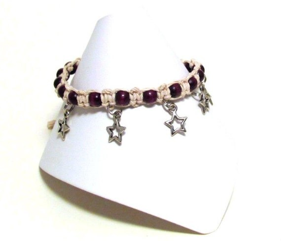 Cute Purple Starry Hemp Anklet