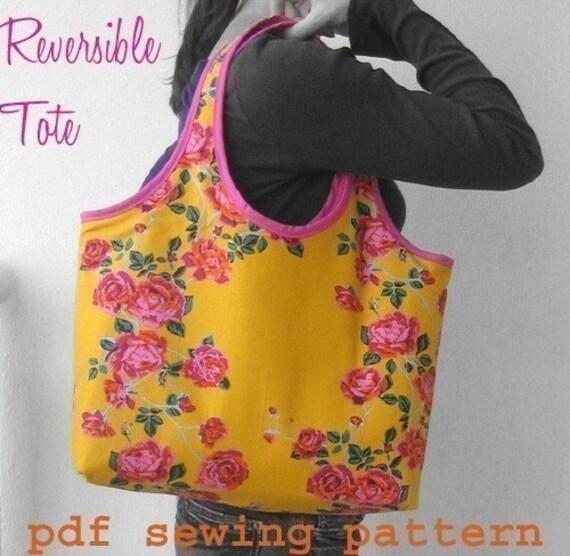 Reversible Tote Bag PDF Sewing Pattern and Tutorial